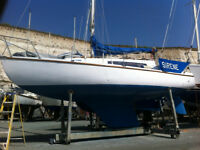 Verl 27 sailing boat, designed by Robert Clark, currently berthed Brighton Marina.
