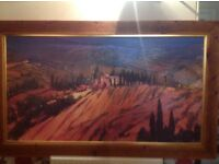 Large oil on canvas painting with rustic frame