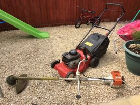 Stihl strimmer and Briggs and Stratton self propelled mower