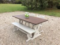 Shabby Chic Refectory Dining Table with Bench and 2 Chairs in Farrow and Ball