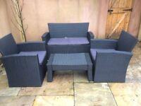 Black Rattan 4 piece garden furnitures