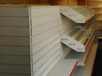 Shop shelving - double sided gondola with steel shelves 1.45m high x 4.75m long
