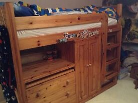 Children's Cabin Bed with Chest of Drawers, Wardrobe & Bookcase