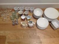 JOB LOT: Dinnerware/Glasses/Cups/Jars/Containers/Tins/Kitchen Scales