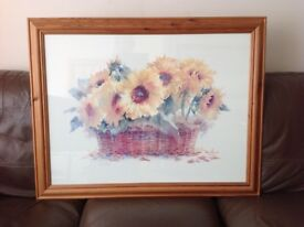 "RUTH BEDERIAN "" BASKET OF SUNSHINE"" SUNFLOWER PAINTING"