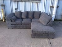 Grey Jumbo Cord Corner Sofa with Left hand Chaise Effect - £299 Inc. Free Local Delivery