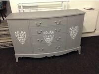 French grey shabby chic sideboard bowed front