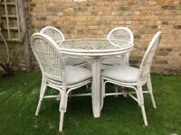 Glass Top Bamboo Table and Four Chairs