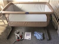 Chicco Next to Me / Next 2 Me side sleeping crib in Dove Grey, plus 2 fitted sheets