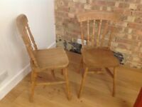 2 lovely wooden dining chairs for sale