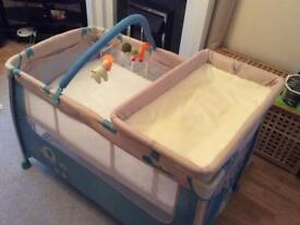 3-in-1 travel cot/play pen/changing station with extra mattress