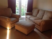 Three seater sofa, stool and one chair, excellent condition. £80.00. Buyer to collect.