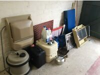Various spare parts - bathroom mirror, bathroom sink, gas bottles, hob, sink, portapotty,