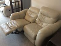 Cream leather 2 seater 1 chair recliner