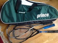 Prince TEnnis and Squash Raquet Bag and 3 Squash Racquets
