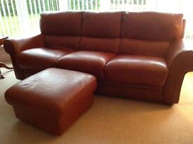 3 Seater leather Sofa with footstool and 2 armchairs