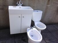 Used white toilet, bidet and handbasin with good quality taps.
