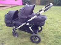 Baby Jogger City Select double pram and buggy sytem + accessories, black, used but great condition