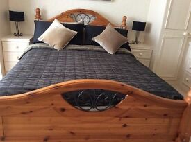 SOLID PINE DOUBLE BED COMPLETE WITH MATTRESS