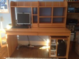 IKEA Anton computer desk with shelving and pedestal for computer tower