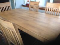 Dining Table with 6 Chairs - Solid Oak