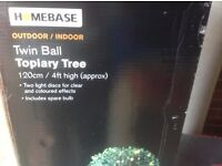 Twin Ball Topiary Tree with Lights