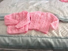 New hand knitted jumper and cardigan