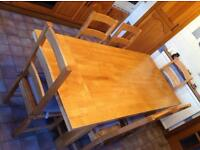 Solid wood Kitchen/Dining table and 6 matching chairs