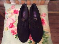 Brand new/unworn modern black suede cleanable tie up hard wearing work shoes
