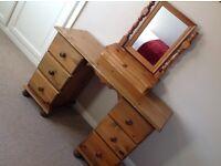 Solid antique pine bedroom furniture - 3 items