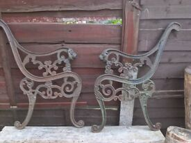 Antique and very rare, Lion Head Cast Iron Bench Ends