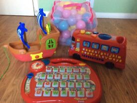 Bundle of toys ( inc Vtech alphabet, Bus with Phonics, Pirate ships and Balls excellent condition.