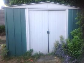 Large Metal Garden Shed 13 Foot x 10 Foot with Double Sliding Doors in Good Condition by Yardmaster