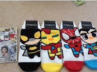 Super hero socks and key chain