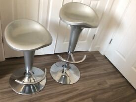 Two silver kitchen bar stools for sale adjustable, silver finish