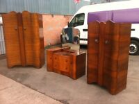 ANTIQUE WALNUT BEDROOM SET ~~ TWO WARDROBES & DRESSING TABLE ~~ CAN DELIVER TO WEST MIDLANDS