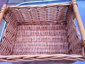 Lovely wicker basket with handles and seagrass basket and woven shoulder bag