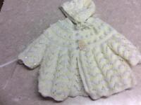 Hand Knitted Baby Cardigan & Bonnet