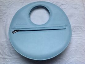 designer michel ambers blue leather handbag