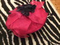 Fusia pink occasional hat facinator with black flowers