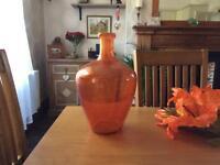 M&S large orange glass vase