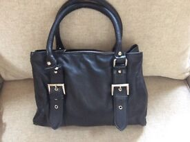 Ladies as new black leather handbag unused present bargain price
