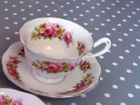 Rare Royal Albert Bone China 'Chatsworth' Tea Cup & Saucers