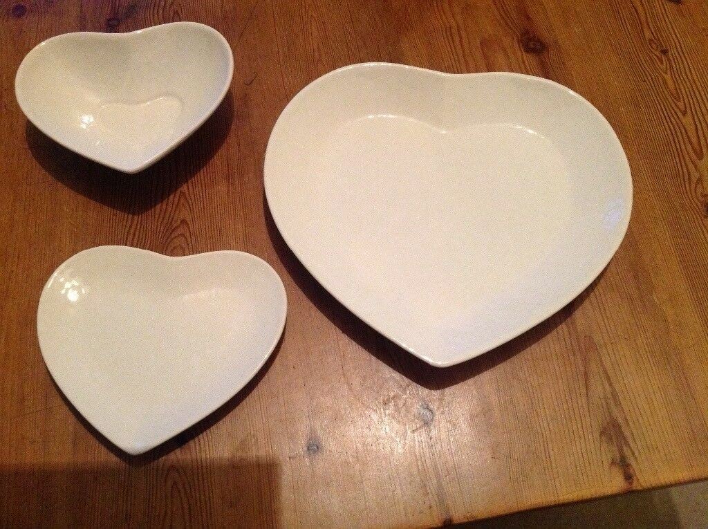 Beautiful, never used, still boxed set of 6 heart shaped dinner ...