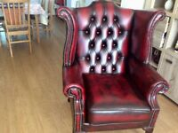 Ox blood 3 piece suite chesterfield good condition