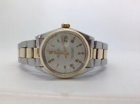 GENUINE GENTS BIMETAL ROLEX OYSTER PERPETUAL DATE RARE BUCKLEY DIAL FULLY SERVICED 1 YEARS WARRANTY