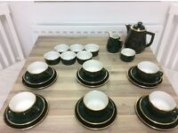 Coffee service ~ French Apilco green and gold