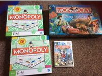Monopoly board games and wii game