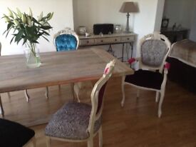 Solid distressed Limed Oak Table