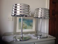 Designer statement chrome pair of lamps lights very heavy 18 inches tall were £200